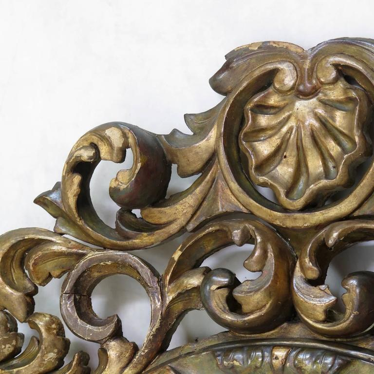 Wood Large Baroque Sculpted Mirror, France, 19th Century For Sale