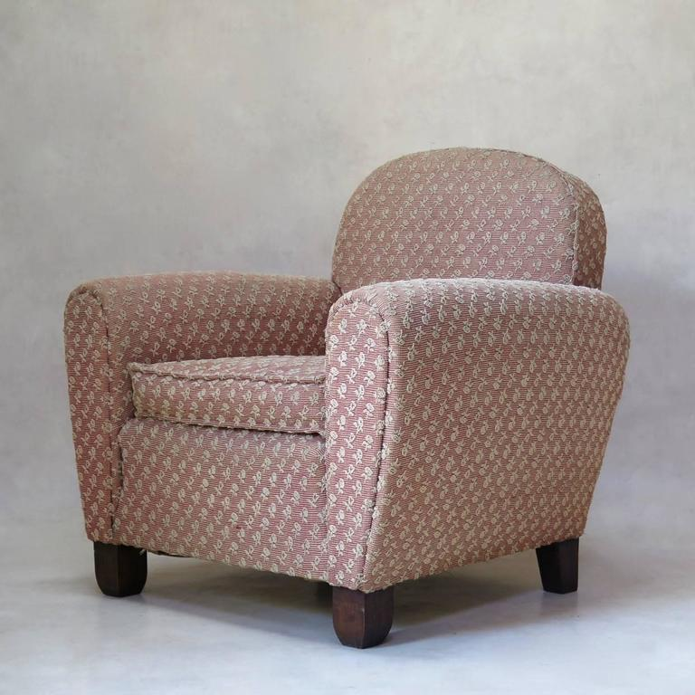 French Pair of Art Deco Upholstered Club Chairs, France, circa 1930s For Sale