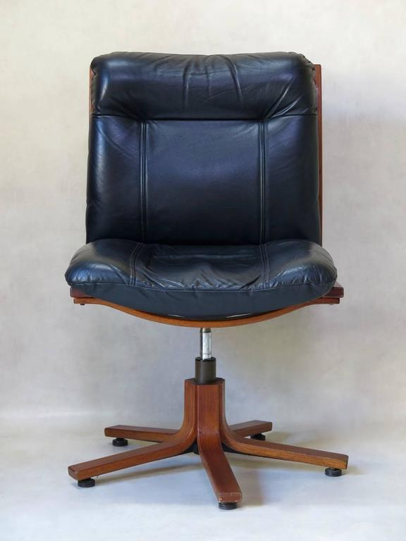 Mid Century Modern Pair Of Scandinavian Leather And Plywood Desk Chairs,  Circa 1960s For
