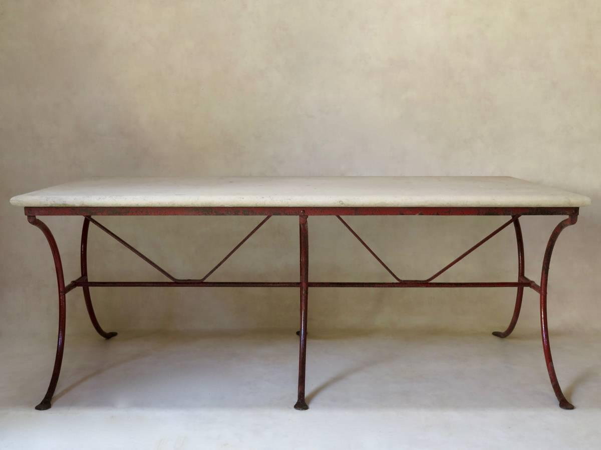 French 19th Century Wrought Iron And Stone Dining Table At 1stdibs