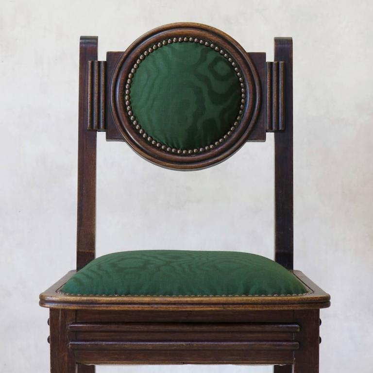 Set of Six Oak Art Deco Dining Chairs, France, circa 1930s For Sale 1