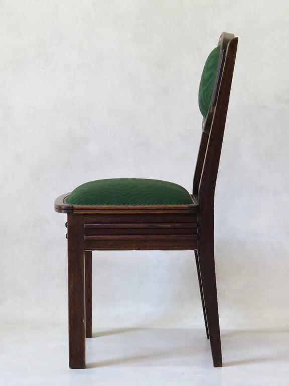Set of Six Oak Art Deco Dining Chairs, France, circa 1930s In Good Condition For Sale In Isle Sur La Sorgue, Vaucluse