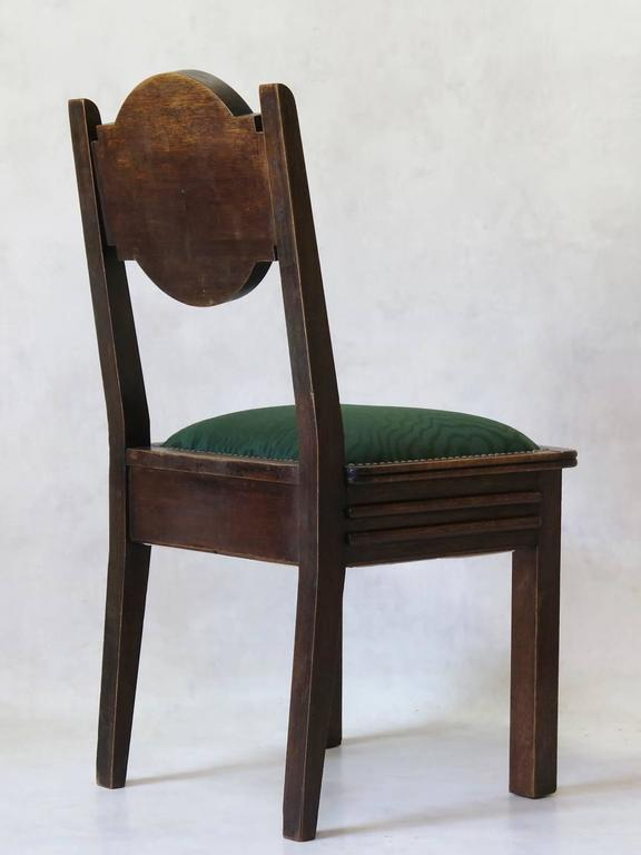 20th Century Set of Six Oak Art Deco Dining Chairs, France, circa 1930s For Sale