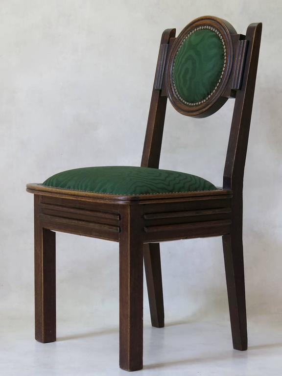 French Set of Six Oak Art Deco Dining Chairs, France, circa 1930s For Sale