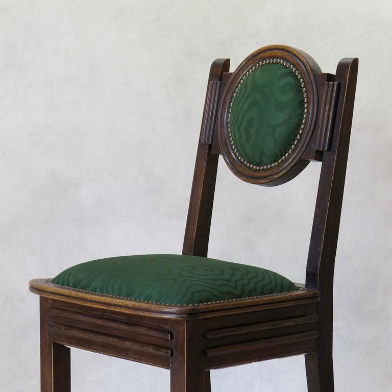 Set of Six Oak Art Deco Dining Chairs, France, circa 1930s For Sale 2