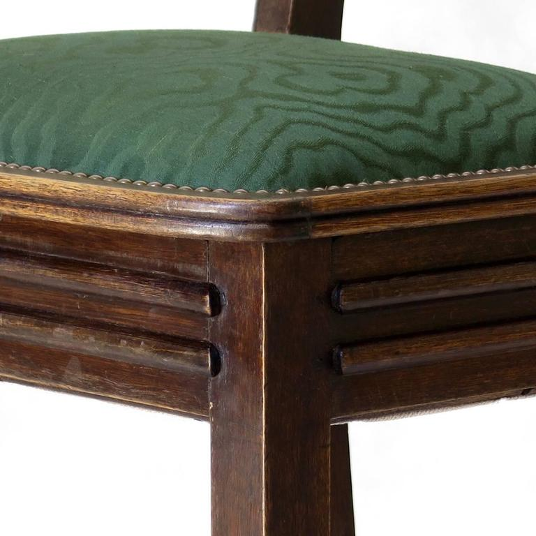 Set of Six Oak Art Deco Dining Chairs, France, circa 1930s For Sale 4