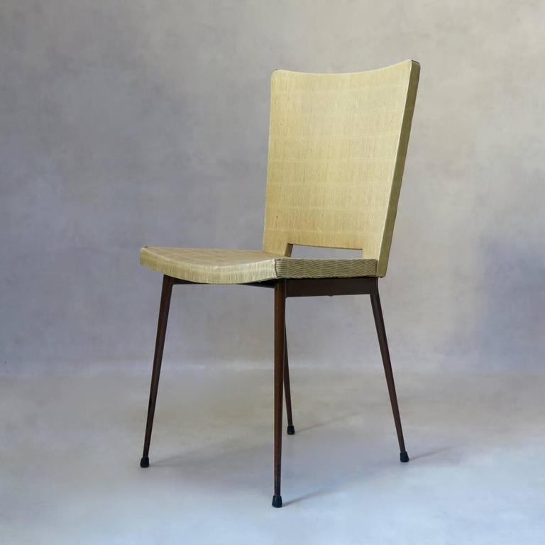 French Set of Four Faux-Rush Dining Chairs Attributed to Colette Gueden, France, 1950s For Sale