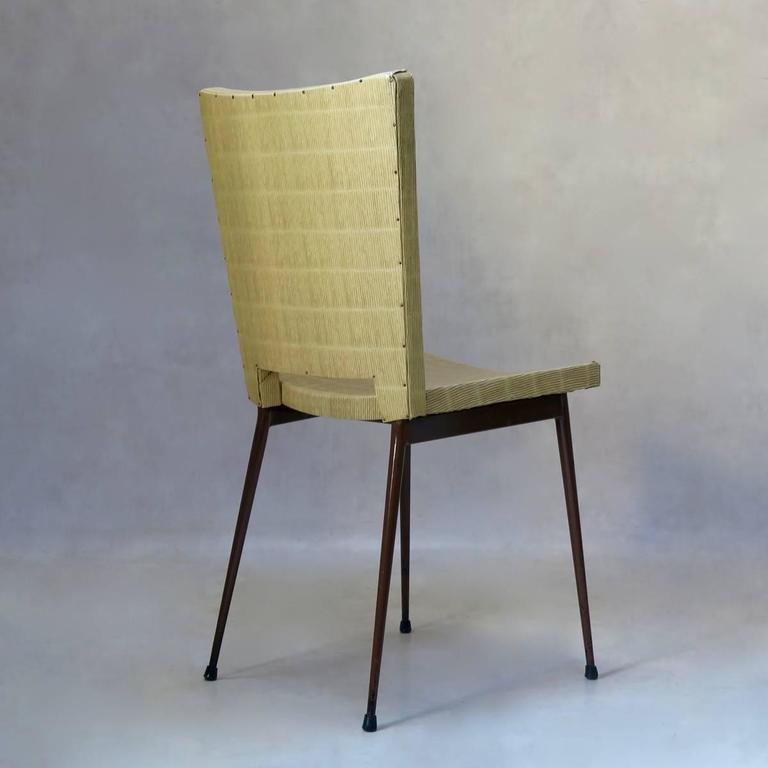 20th Century Set of Four Faux-Rush Dining Chairs Attributed to Colette Gueden, France, 1950s For Sale