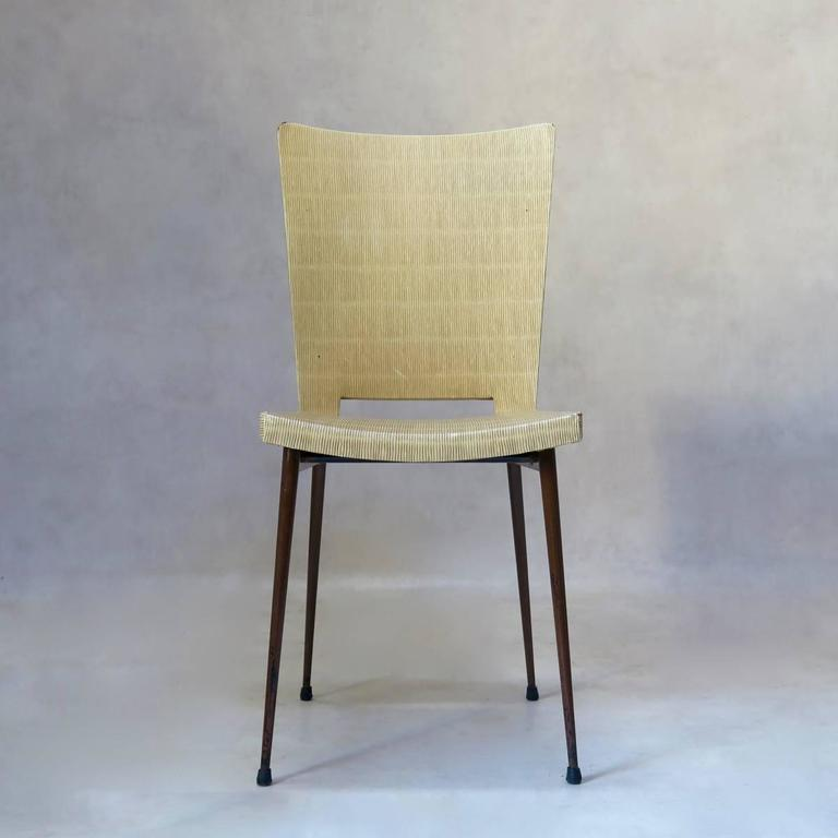 Mid-Century Modern Set of Four Faux-Rush Dining Chairs Attributed to Colette Gueden, France, 1950s For Sale