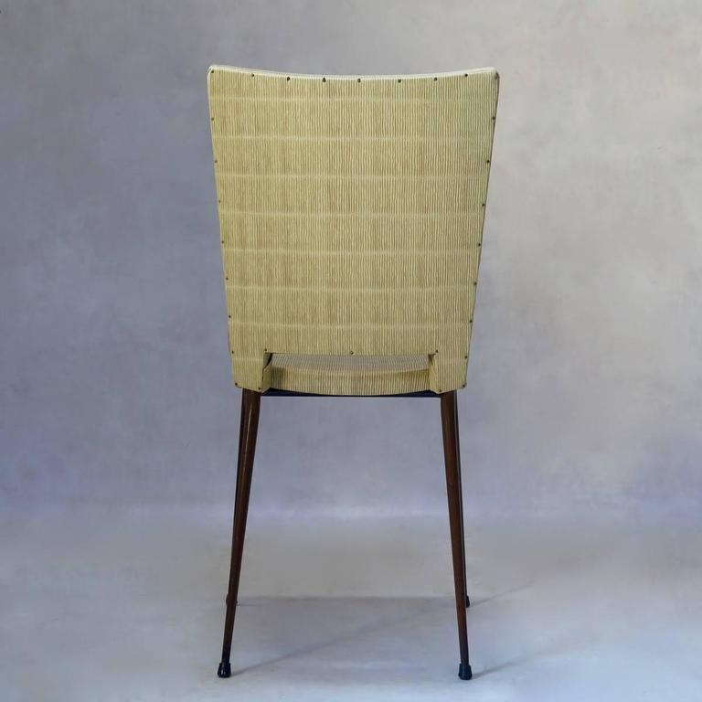 Set of Four Faux-Rush Dining Chairs Attributed to Colette Gueden, France, 1950s In Fair Condition For Sale In Isle Sur La Sorgue, Vaucluse