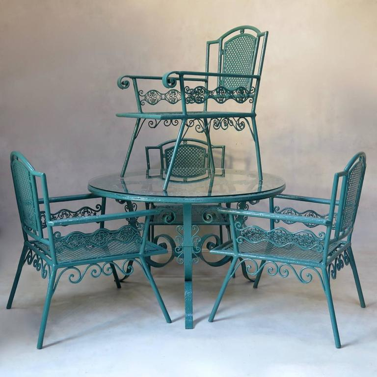 Unique French 1920s Patio Set Comprising A Table And Four