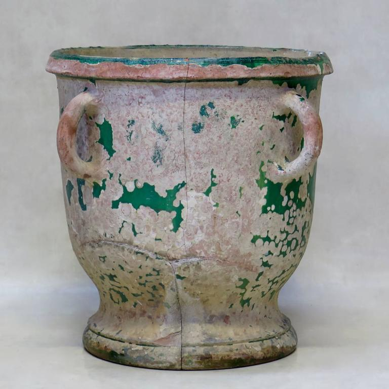 Materials Distressed And Glazed: Rare Glazed Terracotta Planter From Anduze, France, Circa
