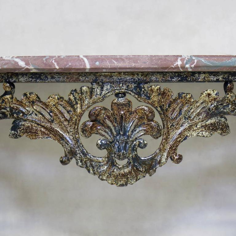 Painted Unusual Wrought Iron and Marble Rocaille-Style Console, France, circa 1940s For Sale