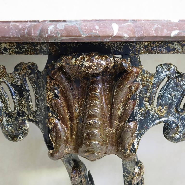 Louis XV Unusual Wrought Iron and Marble Rocaille-Style Console, France, circa 1940s For Sale