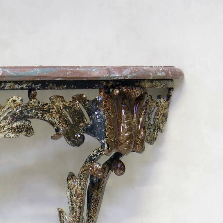 Unusual Wrought Iron and Marble Rocaille-Style Console, France, circa 1940s In Excellent Condition For Sale In Isle Sur La Sorgue, Vaucluse