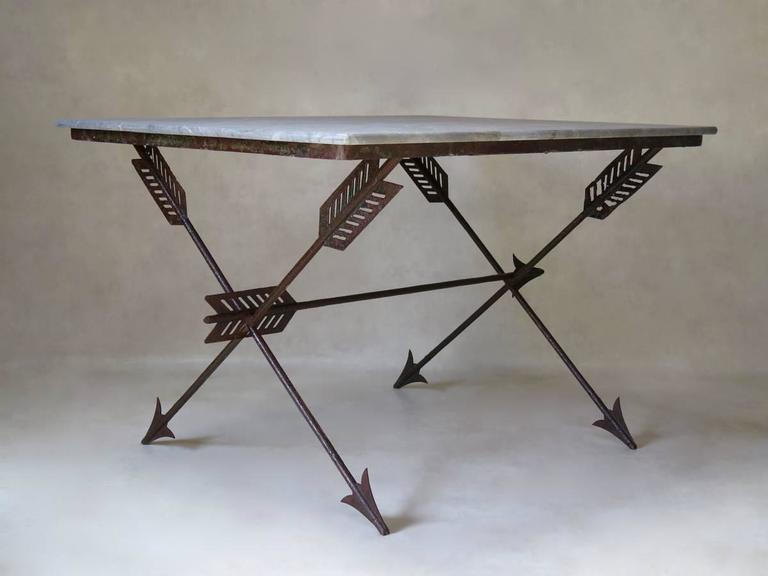 Elegant French 1940s Iron and Marble