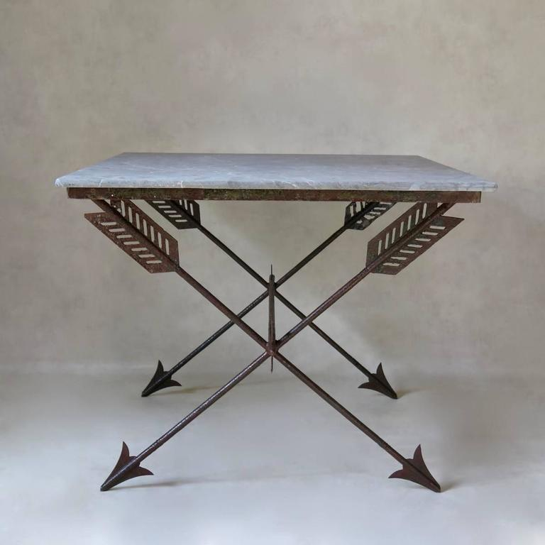 Art Deco Elegant French 1940s Iron and Marble