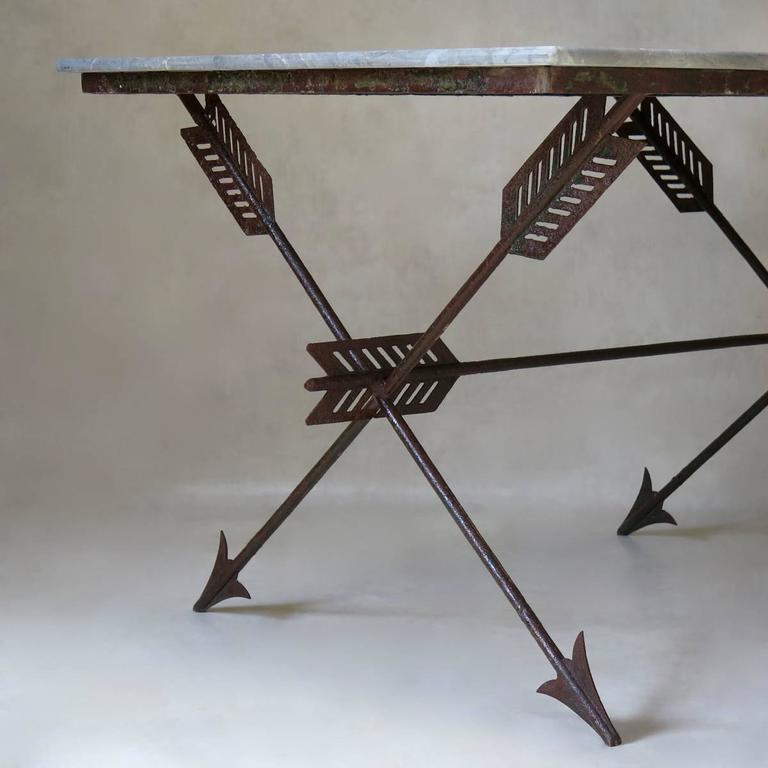 20th Century Elegant French 1940s Iron and Marble