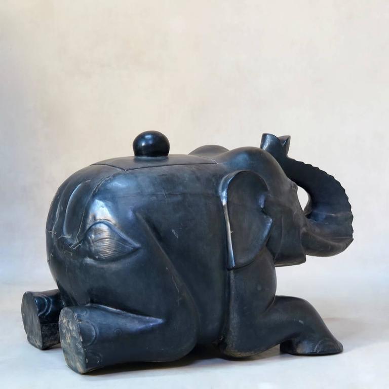 Hardwood Large Ebonized Wooden Elephant Chest, circa 1940s For Sale