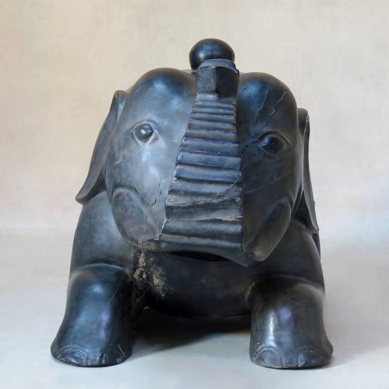 Large Ebonized Wooden Elephant Chest, circa 1940s For Sale 3