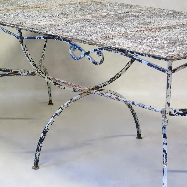 Large Maison Jansen Garden Table, France, 1950s In Distressed Condition For Sale In Isle Sur La Sorgue, Vaucluse
