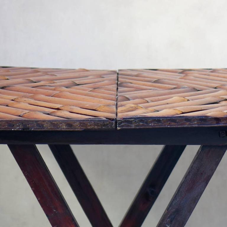 Vintage Folding Bamboo Side Table, France, circa 1950s In Good Condition For Sale In Isle Sur La Sorgue, Vaucluse