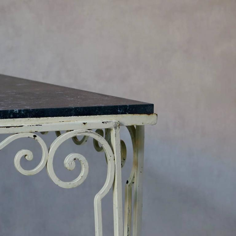 Painted Large Wrought Iron and Stone Art Deco Table, France, 1930s For Sale
