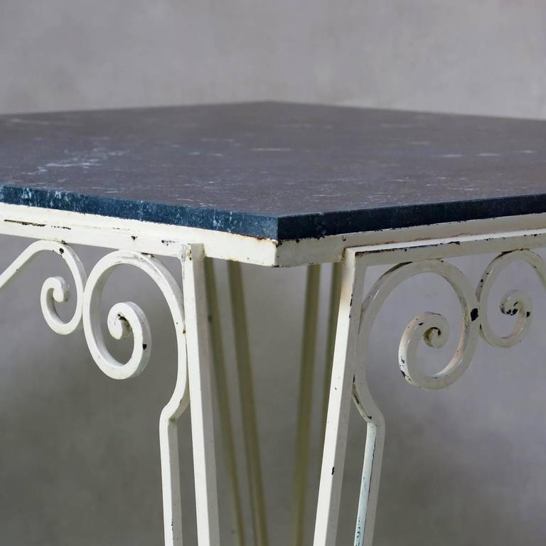 French Large Wrought Iron and Stone Art Deco Table, France, 1930s For Sale