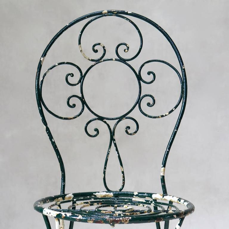 Intricately Wrought-Iron Garden Chair and Table, Set, France, 1950s For Sale 1