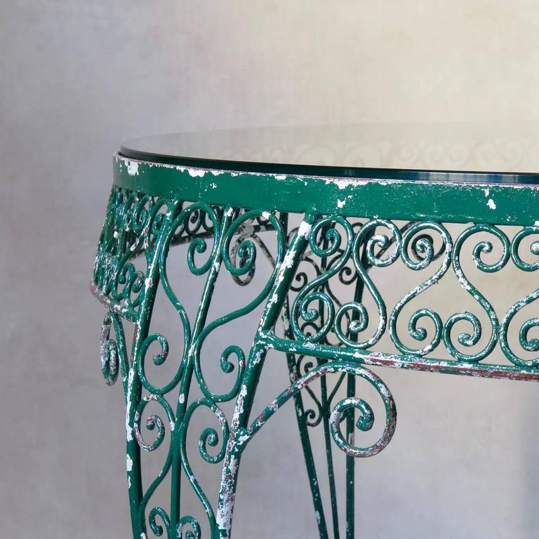 French Intricately Wrought-Iron Garden Chair and Table, Set, France, 1950s For Sale
