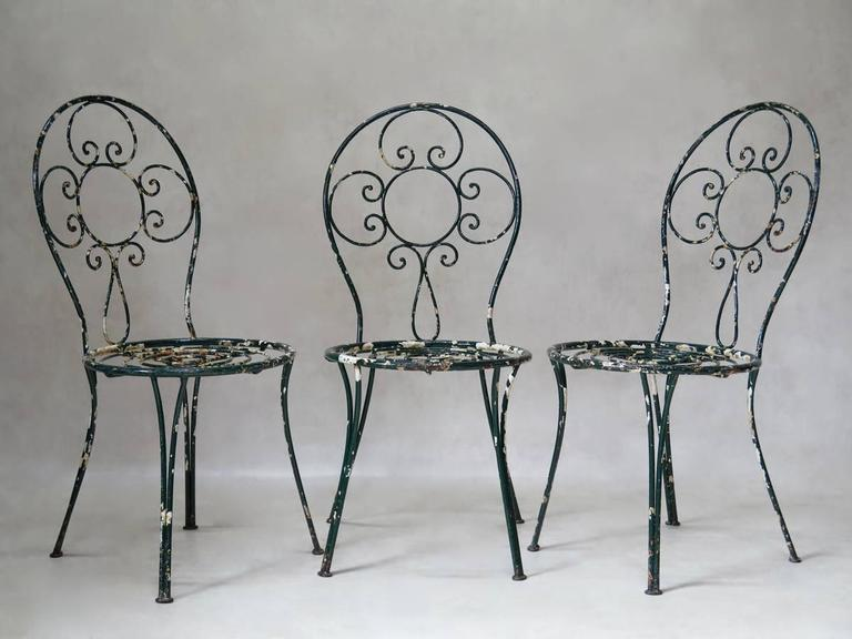 20th Century Intricately Wrought-Iron Garden Chair and Table, Set, France, 1950s For Sale