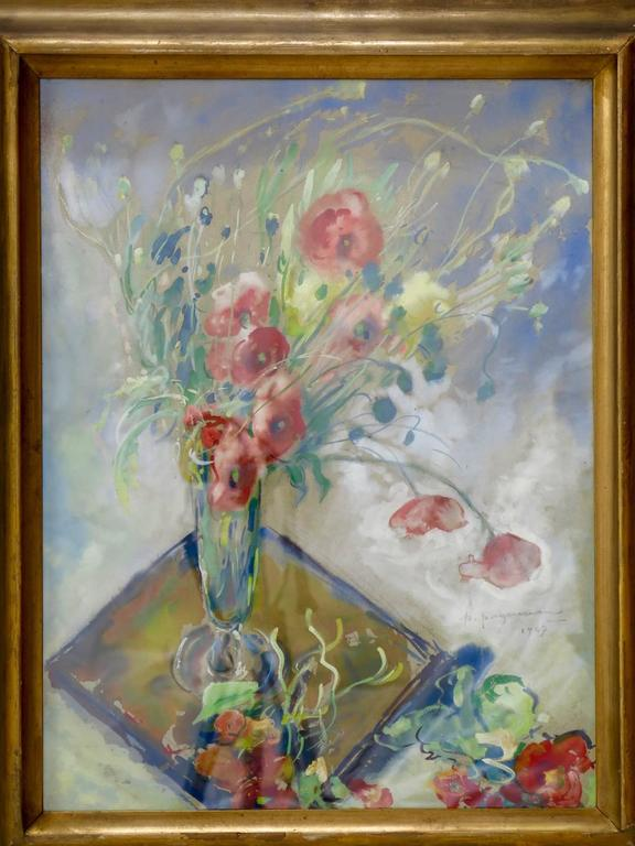 Watercolor representing a vase of wind-blown poppy flowers. Lovely colours.  Signed P. Paquereau, 1947.  Paul Paquereau (1871- 1956) was a French painter and theatre decorator and a contemporary of artists such as Raoul Dufy, André Breton and