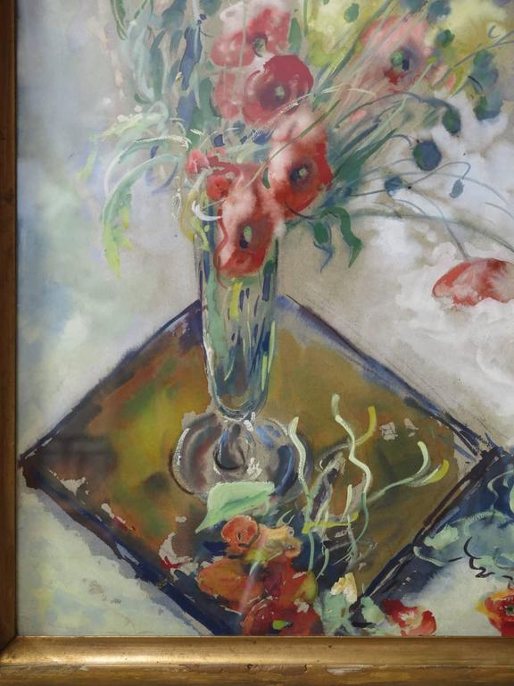 Poppy Watercolor by P. Paquereau, France, 1947 For Sale 1