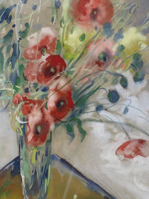 20th Century Poppy Watercolor by P. Paquereau, France, 1947 For Sale