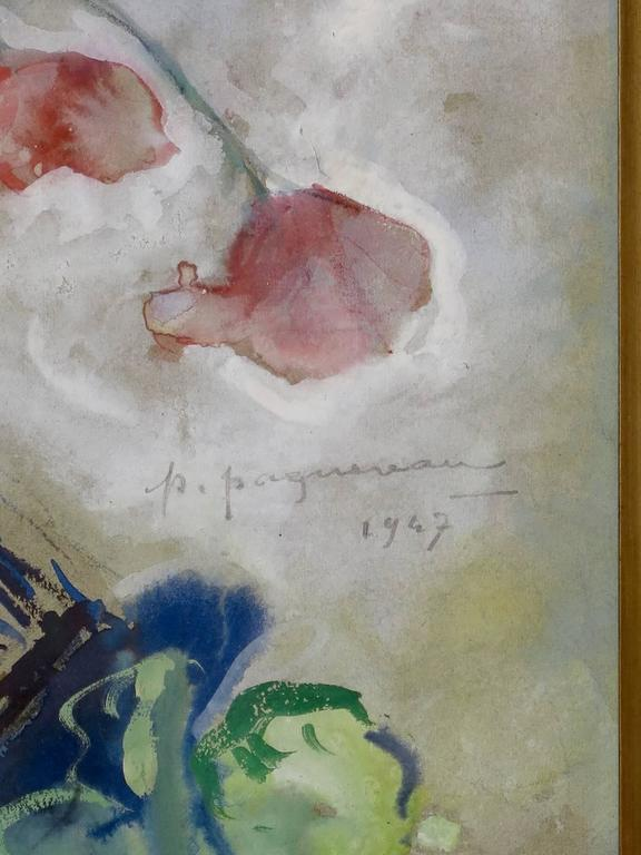 Poppy Watercolor by P. Paquereau, France, 1947 For Sale 3