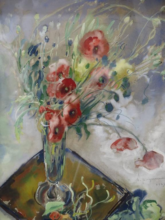French Poppy Watercolor by P. Paquereau, France, 1947 For Sale