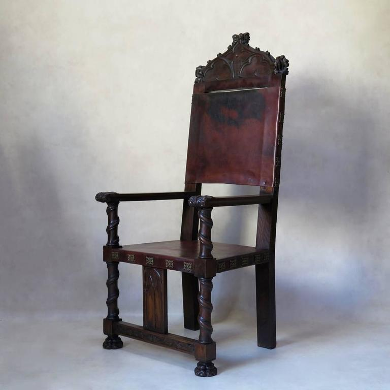 medieval style hall chairs france 19th century for sale at 1stdibs. Black Bedroom Furniture Sets. Home Design Ideas