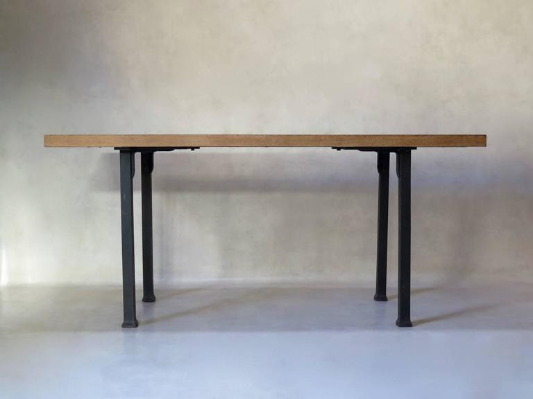 French Minimalist 1940s Iron and Oak Table, France For Sale