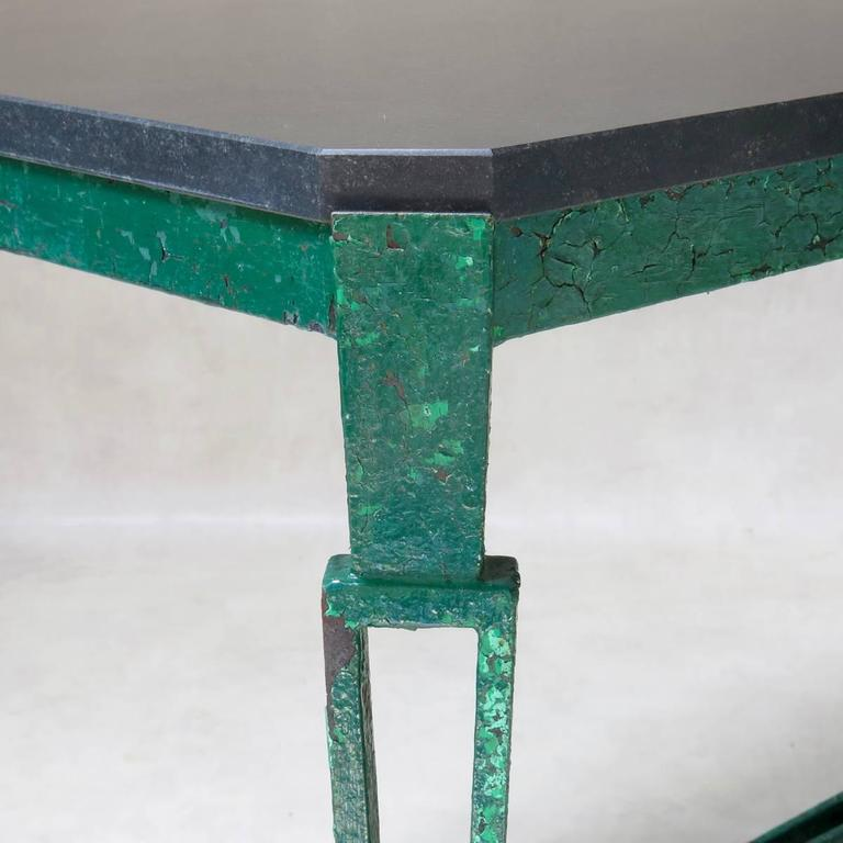 French 1940s Art Deco Iron and Granite Table For Sale 1