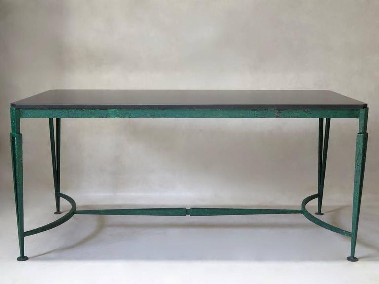 Painted French 1940s Art Deco Iron and Granite Table For Sale
