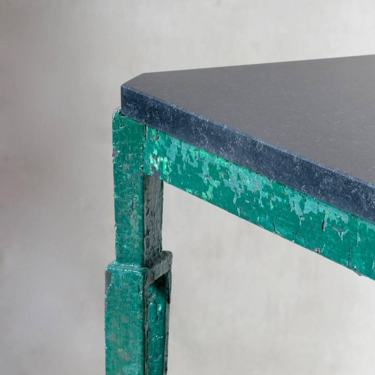 Wrought Iron French 1940s Art Deco Iron and Granite Table For Sale