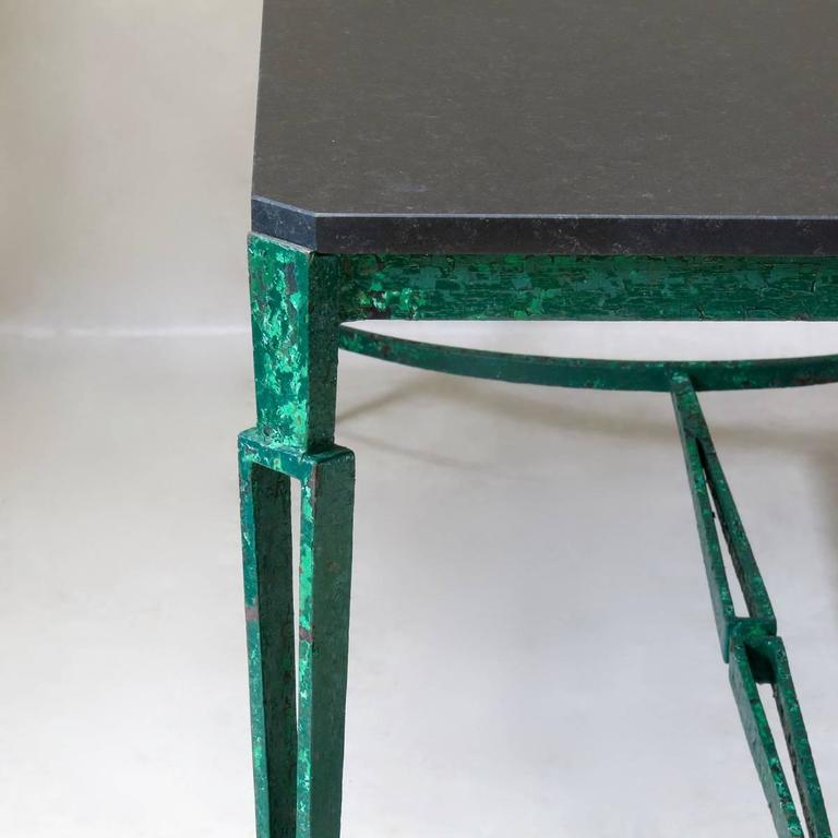 20th Century French 1940s Art Deco Iron and Granite Table For Sale