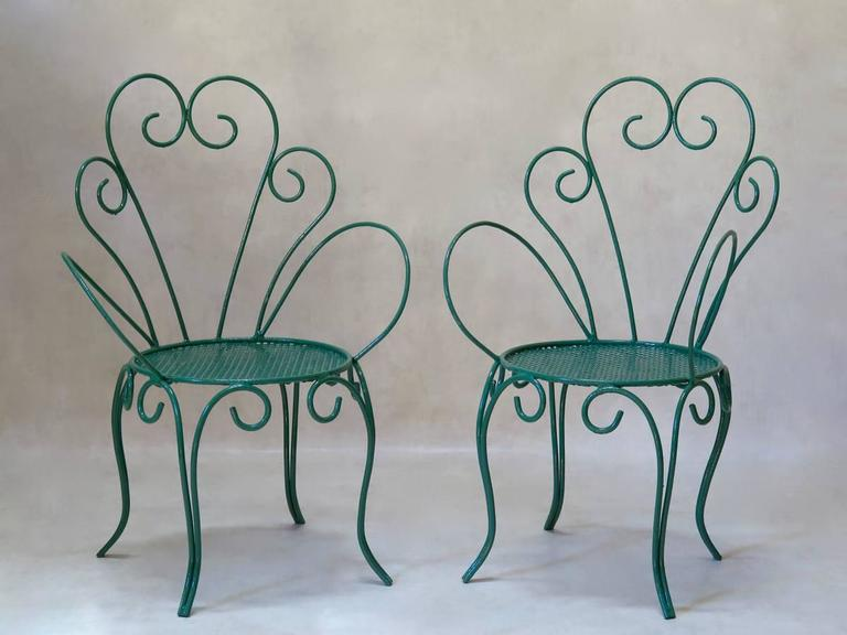 French 1950s Painted Iron Garden Set For Sale 4