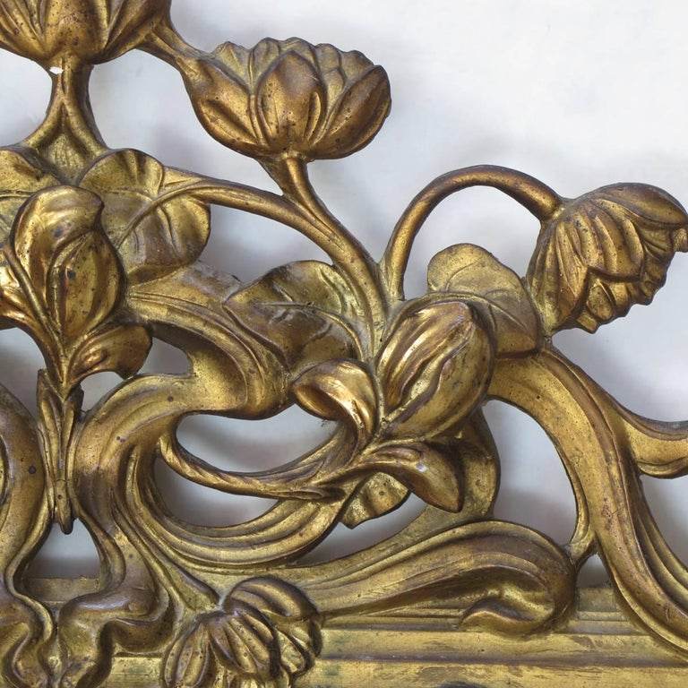 Large Art Nouveau Mirror With Lotus Flower Decor, France