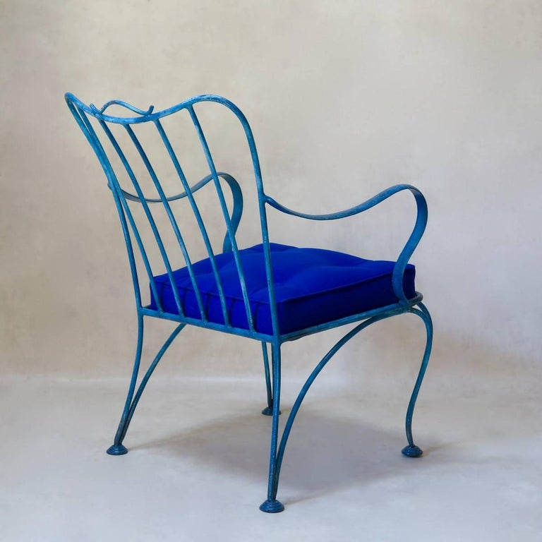 Four French Mid Century Iron Lounge Chairs For Sale at 1stdibs