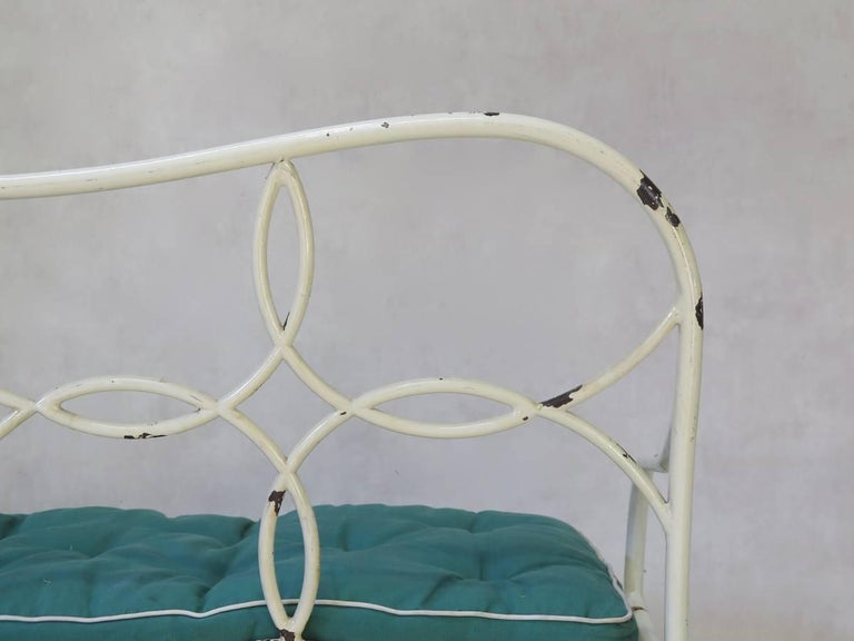 Canvas French 1950s Long Garden Bench For Sale