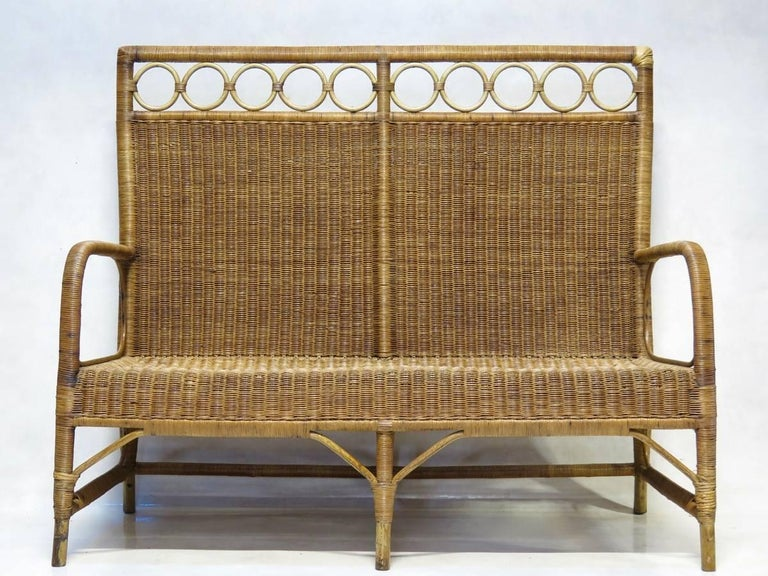 1920s French Wickerwork Set In Fair Condition For Sale In Isle Sur La Sorgue, Vaucluse