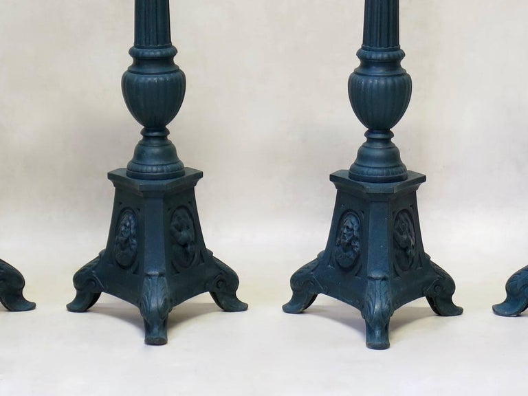 Set of Four French 19th Century Candle Sticks For Sale 3