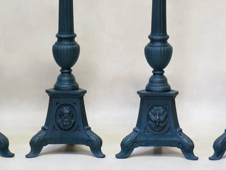 Set of Four French 19th Century Candle Sticks For Sale 2