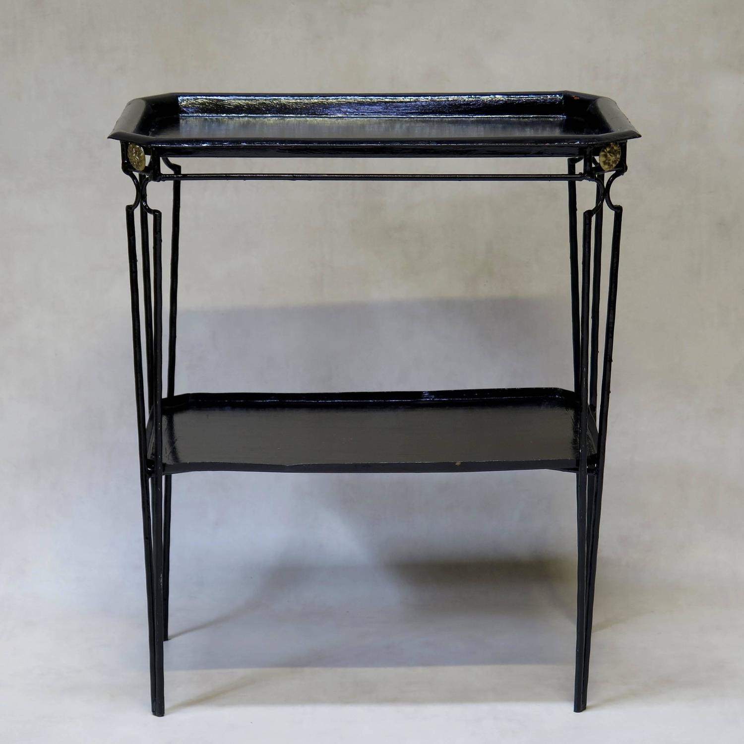 Four Black Painted Metal Tray Tables in the 1940s Style, France, circa ...